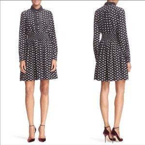 Kate Spade | Swan Print Silk Blend Shirtdress